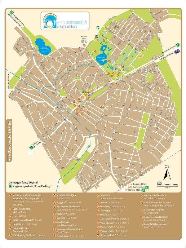 Hajdúszoboszló város turisztikai térképe